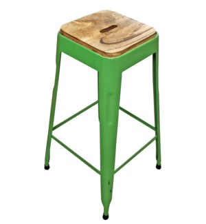 """Beirut Iron Stool Dark Green, Mango Wood Seat, 15x15x27.5 Inch"""