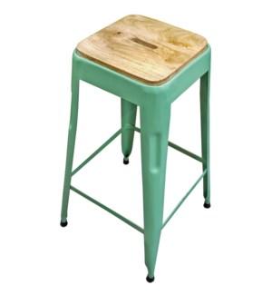 Beirut Iron Stool Parrot Green, Mango Wood Seat, 15x15x27.5 Inch