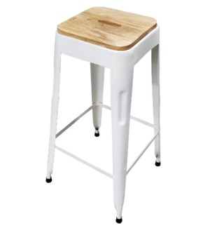 """Beirut Iron Stool White, Mango Wood Seat, 15x15x27.5 Inch"""