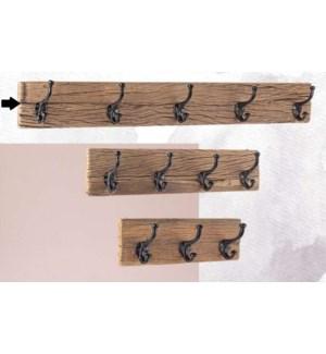 """Locarno 5 Hook Wall Rack, Wood, Black"""