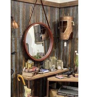 """""""Rex Circular Mirror, Large, Leather"""""""