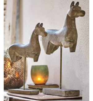 WOODEN HORSE ON IRON STAND