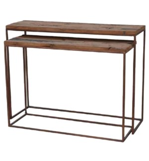 Copper & Sleeper Wood Set/2 Nesting Console Table, 43x14x33 Inch