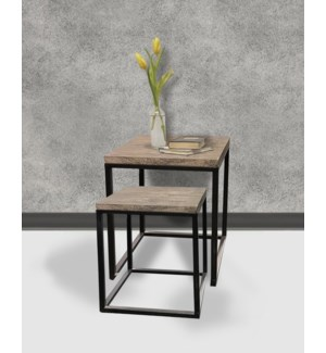 """Paul Nesting Side Tables Set/2, Iron/Wood"""