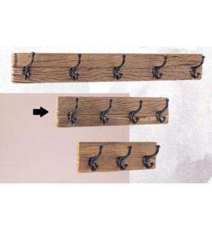 """Locarno 4 Hook Wall Rack, Wood, Black"""