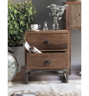 """Melanie 2 Drawer Bedside Table, Wood"""