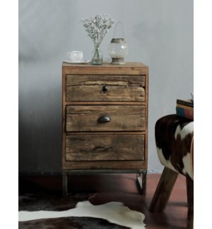 """Locarno Driftwood Bedside Table, Wood, Dark Brown"""
