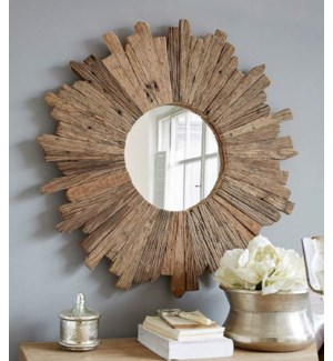 """Starburst Circle Mirror, Railway Sleeper Wood, Natural"""