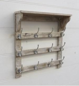 """Foyer 11 Hook Rack, Iron/Wood, Natural"""