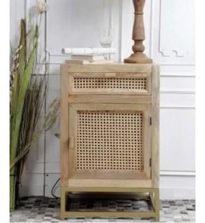 """Mango Wood Bedside With Rattan Cane Frame, Hand-Wovened"""