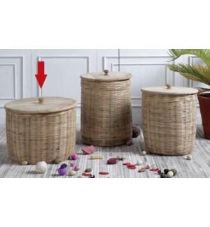 """Hand-Woven Rattan Stoage Basket With Mango Wood Lid, Large"""