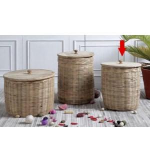 """Hand-Woven Rattan Stoage Basket With Mango Wood Lid, Small"""