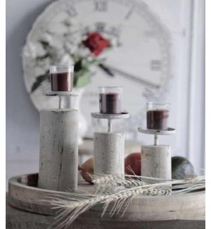 """""""Candle Stand, Set Of 3 Distressed Finish, Antique White"""""""