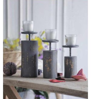 """""""Candle Stand, Set Of 3 Distressed Finish, Grey"""""""