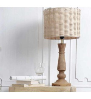 """""""Table Lamp With Rattan Shade, Mango Wood"""""""