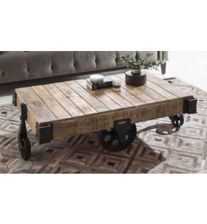 WOODEN IRON COFFEE TABLE