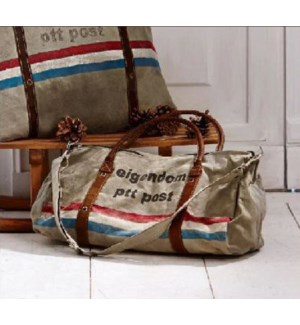 Postmans style satchel with handles and detachable crossbody strap, grey canvas with red, white and