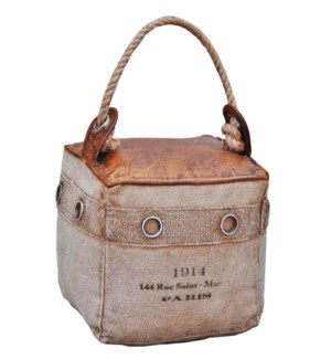 Canvas Leather Doorstop. Canvas Buffalo Leather from India. Filling cotton, sand. 1.25kg. 8x8x8inch