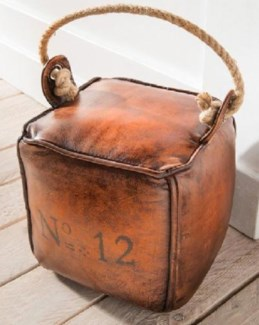Leather Doorstop Leather from India. Filling from cotton and sand. 1.25kg. 8x8x8inch *Last Chance!*