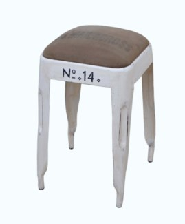 No. 14 Short Stool, Crm/Canvas, 13x13x21 inches