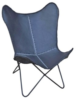 Iron Butterfly Chair Black  Leather from India. 26.5x27.50x36.50inch - DISC 08.02.10
