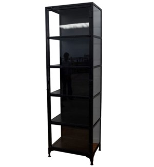 Industrial Display Cabinet, Black, Metal, *Comes in 2 Parts* 21.6x15.7x78.7 Inch