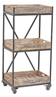 Wooden 3 Level Stamped Trolley, Mangowood, Natural/Black 21x13.8x44in.