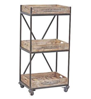 Wooden 3 Level Stamped Trolley