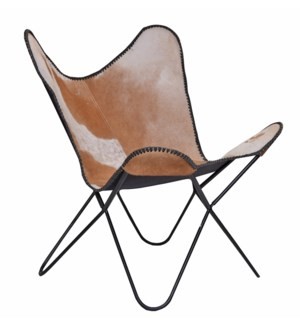 Iron Butterfly Chair, Brown Cow Hide Leather, 23x21x34 Inches