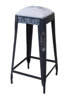 Iron Bar Stool Canvas Top 15x15x27inch Construction Poly foam and cotton filling. On sale 25 percent