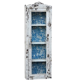 """Wall Rack, Dist. Blu/Wht, 12x5x35 inches"""