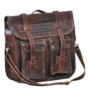 Leather Satchel Dist Brown OS