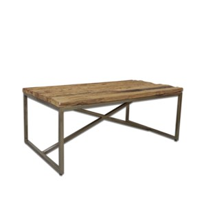 Beachcomber Coffee Table, Rough natural wood & Chrome 48x24.4x18in.