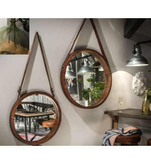 """Rex Circular Mirror, Small, Leather"""