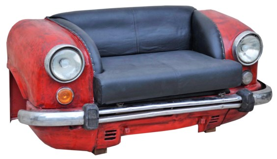 Auto Full Love Seat, Leather, Black/Red 62x27.6x33in.
