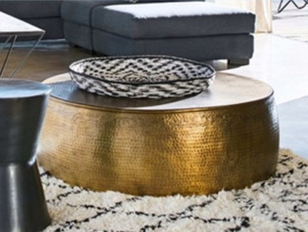 Brass Coffee Table, 31x31x14 inches