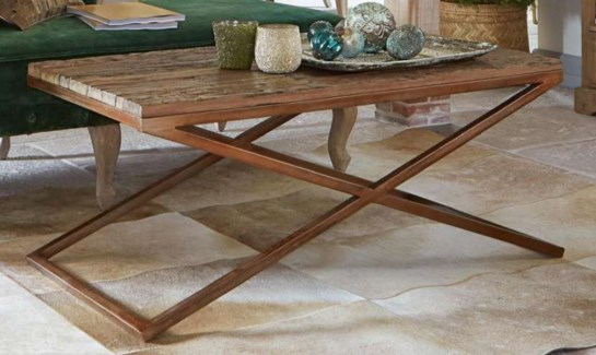 Lucinda Coffee Table, Brass & Natural  48x24x18 in.