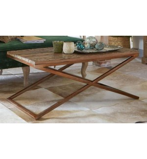 """""""Lucinda Coffee Table, Brass & Natural  48x24x18 in.On sale 25 percent off!"""""""