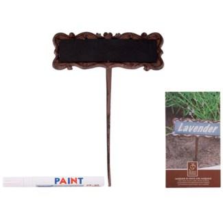Cast iron plant marker. Cast iron, metal, magnet, permanent marker. 15,7x5,2x26,7cm. oq/12,mc/24 P