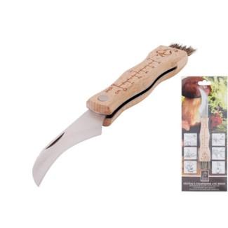 Mushroom knife. Stainless Steel, beech wood, pig s bristle. 3,4x1,9x20,5cm. oq/12,mc/60 Pg.75