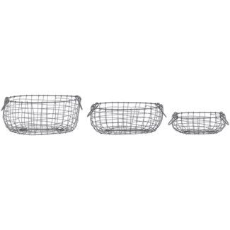 Wire basket oval set/3 S -  10.8x8x3.9in.
