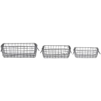 Wire basket square set/3 - 10x9.7x3.4in.