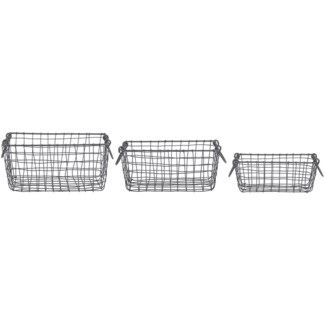 Wire basket rectangular set/3 S -  10.2x6.7x4.3in.