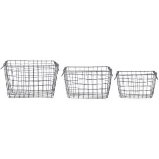 Wire basket rectangular set/3 L -  12.2x8.3x8in.