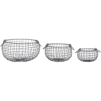 Wire basket pear shaped set/3 S -  8.8x8.8x5.2in.