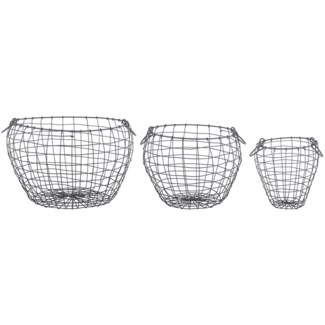 Wire basket pear shaped set/3 L - 18.8x18.8x12in.