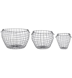 Wire basket pear shaped set/3