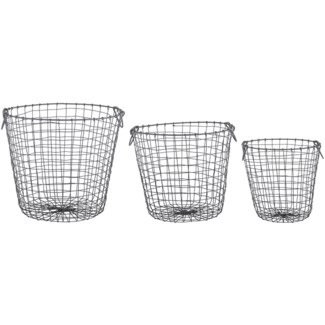 Wire basket round set/3 L -  12.1x12.1x12in.
