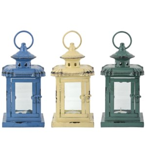 Small Lanterns 3 Assorted coloursI 11,5x11,5x21,5cm. oq/12,mc/12, price is for each