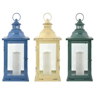 Lantern 3 Asst. colours L. Iron, glass. 20,3x20,3x48,3cm. oq/6,mc/6 Pg.31